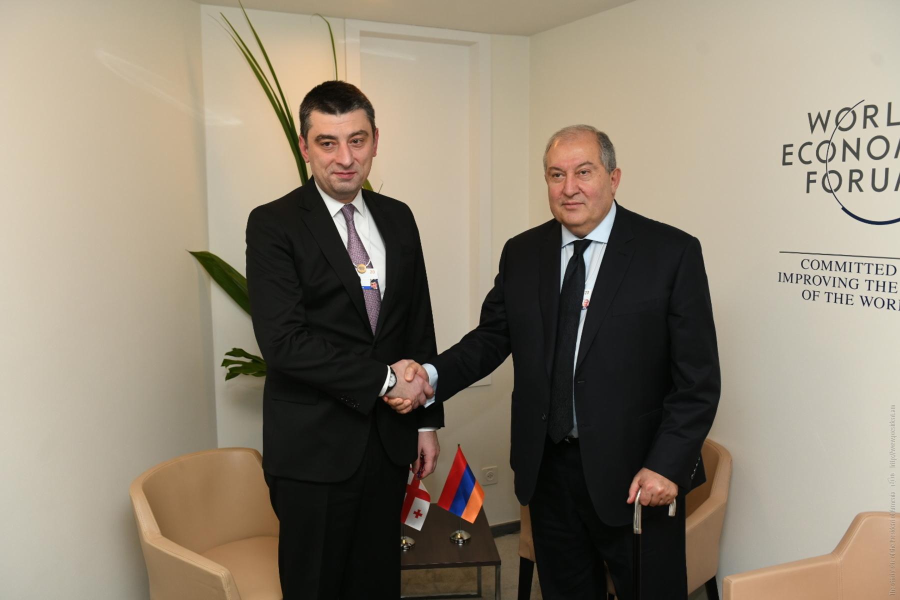 Համագործակցության լայն սպեկտր և հսկայական ներուժ. նախագահ Սարգսյանը հանդիպել է Վրաստանի վարչապետ Գեորգի Գախարիայի հետ