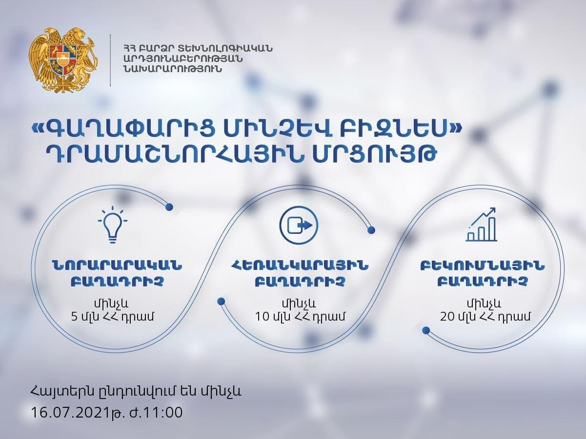 2021 թվականի «Գաղափարից մինչև բիզնես» դրամաշնորհային ծրագրի մրցույթի մեկնարկը տրվել է